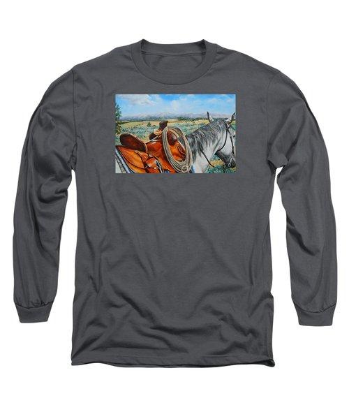 A Cowboy's View Long Sleeve T-Shirt by Ruanna Sion Shadd a'Dann'l Yoder