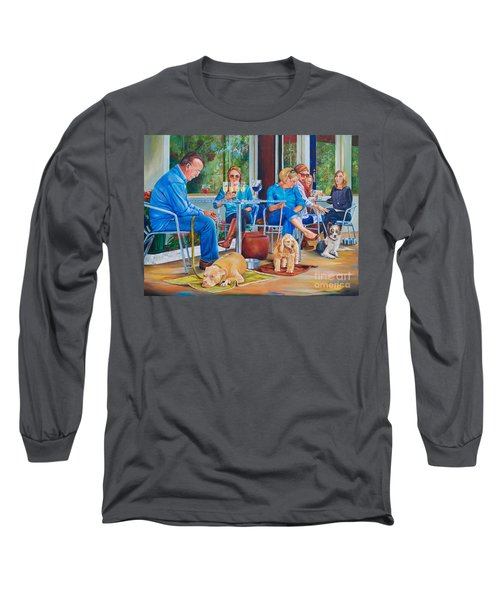 Long Sleeve T-Shirt featuring the painting A Dog's Life by AnnaJo Vahle