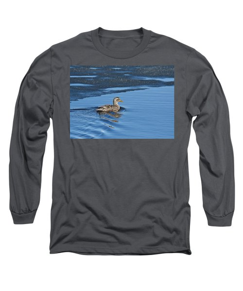 Long Sleeve T-Shirt featuring the photograph A Female Mallard In Thunder Bay by Michael Peychich