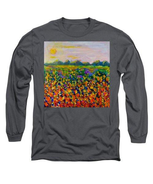 A Field Of Flowers #1 Long Sleeve T-Shirt by Maxim Komissarchik