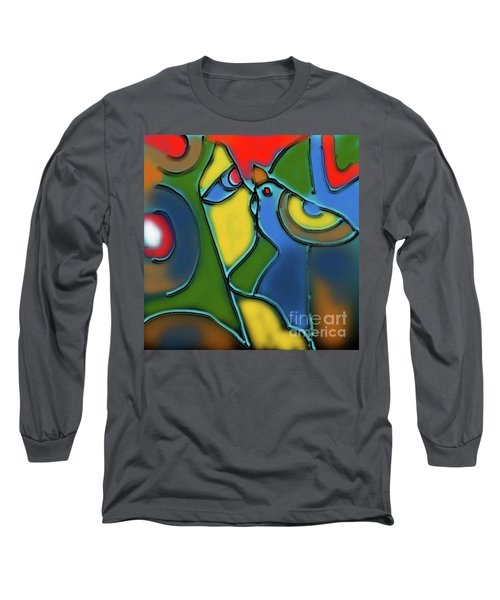 Long Sleeve T-Shirt featuring the digital art A Girl And The Dove by Latha Gokuldas Panicker
