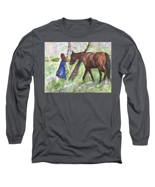 Long Sleeve T-Shirt featuring the painting A Girl's Best Friend by Lucia Grilletto