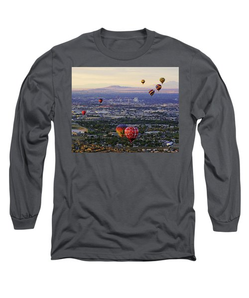 A Hot Air Ride To Albuquerque Cropped Long Sleeve T-Shirt by Daniel Woodrum