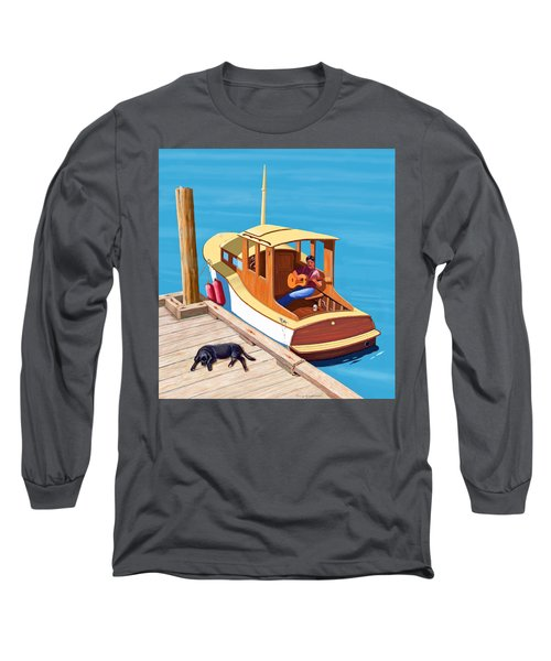 A Man, A Dog And An Old Boat Long Sleeve T-Shirt