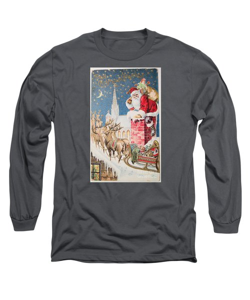 A Merry Christmas Vintage Greetings From Santa Claus And His Raindeer Long Sleeve T-Shirt
