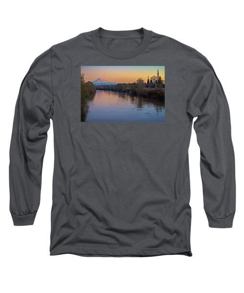 A Mt Tahoma Sunset Long Sleeve T-Shirt by Ken Stanback