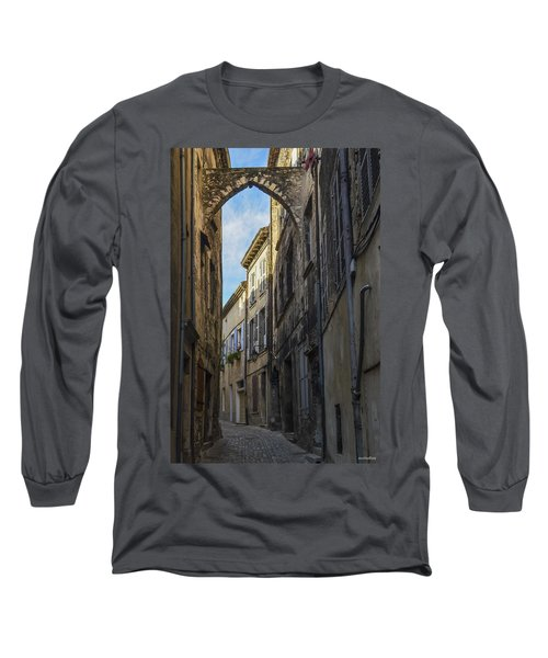 Long Sleeve T-Shirt featuring the photograph A Narrow Street In Viviers by Allen Sheffield