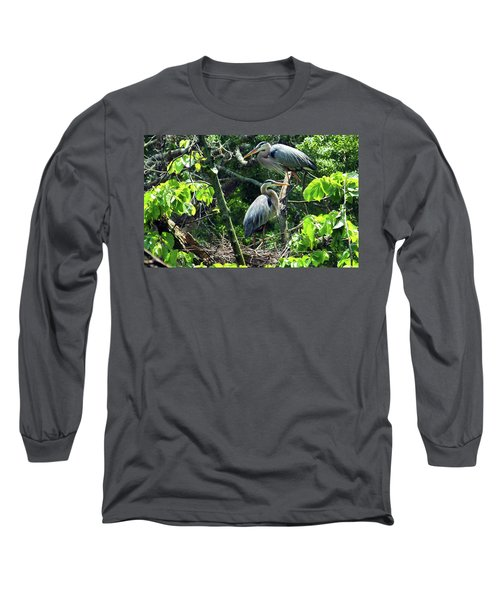 A Nesting Pair Of Great Blue Herons Long Sleeve T-Shirt