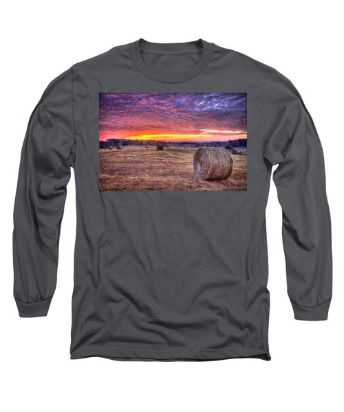 Long Sleeve T-Shirt featuring the photograph Before A New Day Georgia Hayfield Sunrise Art by Reid Callaway