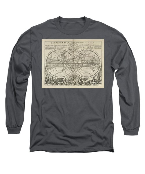 A New Map Of The Whole World With Trade Winds Herman Moll 1732 Long Sleeve T-Shirt