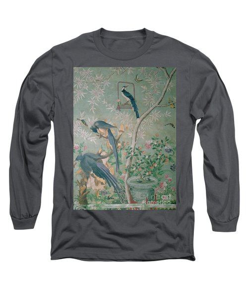A Pair Of Magpie Jays  Vintage Wallpaper Long Sleeve T-Shirt by John James Audubon