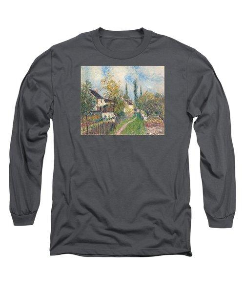 A Path At Les Sablons Long Sleeve T-Shirt by Alfred Sisley