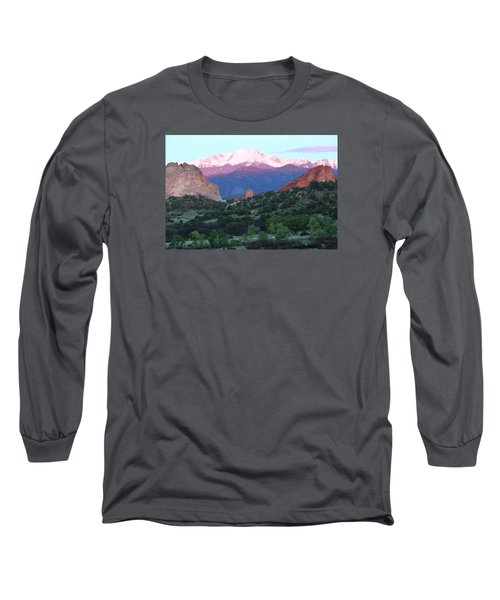 A Pikes Peak Sunrise Long Sleeve T-Shirt by Eric Glaser