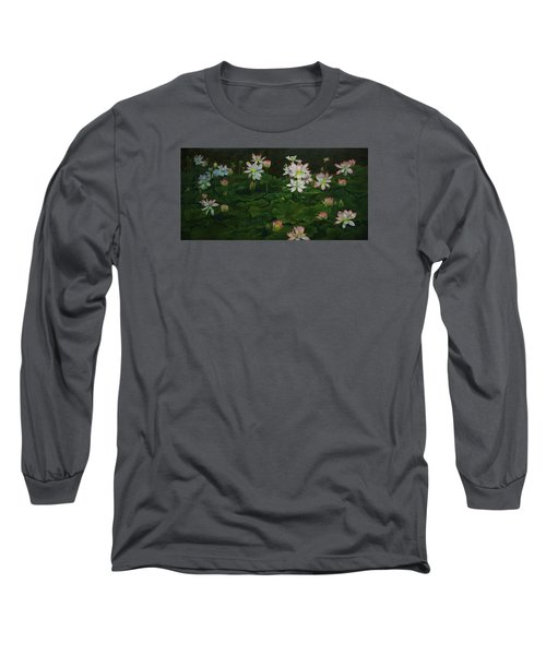 A Pond Full Of Water Lilies And Youtube Video Long Sleeve T-Shirt by Roena King
