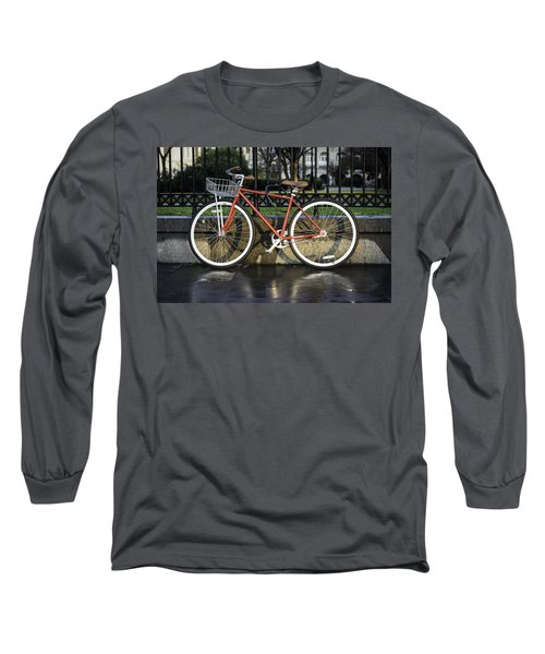 A Red Bicycle Near Jackson Square, New Orleans, Louisian Long Sleeve T-Shirt