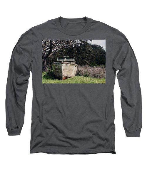 A Retired Old Fishing Boat On Dry Land In Bodega Bay Long Sleeve T-Shirt