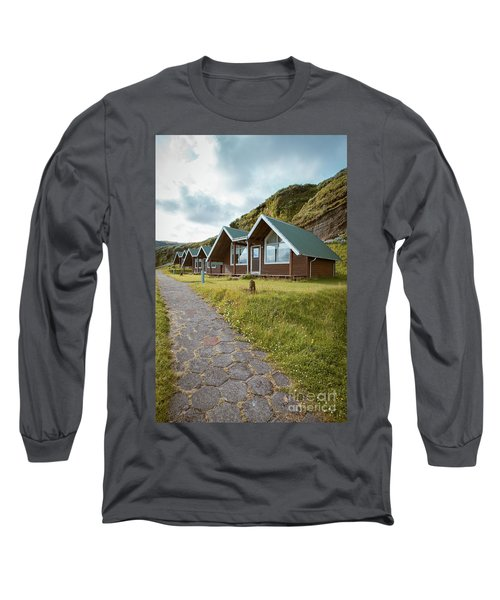Long Sleeve T-Shirt featuring the photograph A Row Of Cabins In Iceland by Edward Fielding