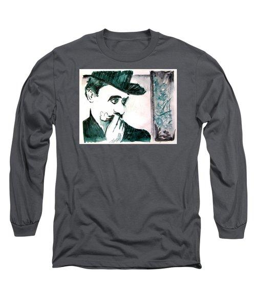 A Sad Portrait Of Chaplin Long Sleeve T-Shirt by Seth Weaver