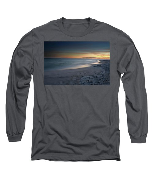 Long Sleeve T-Shirt featuring the photograph A Sandy Shoreline At Sunset by Renee Hardison
