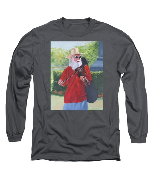 A Slim Fiddler For Peace Long Sleeve T-Shirt by Connie Schaertl
