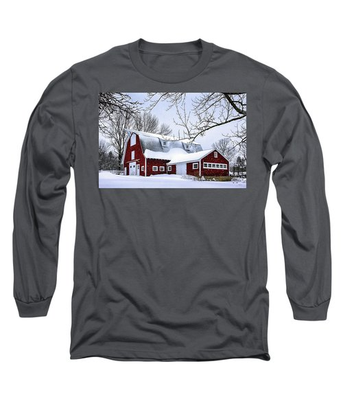 A Snowy Day At Grey Ledge Farm Long Sleeve T-Shirt by Betty Denise