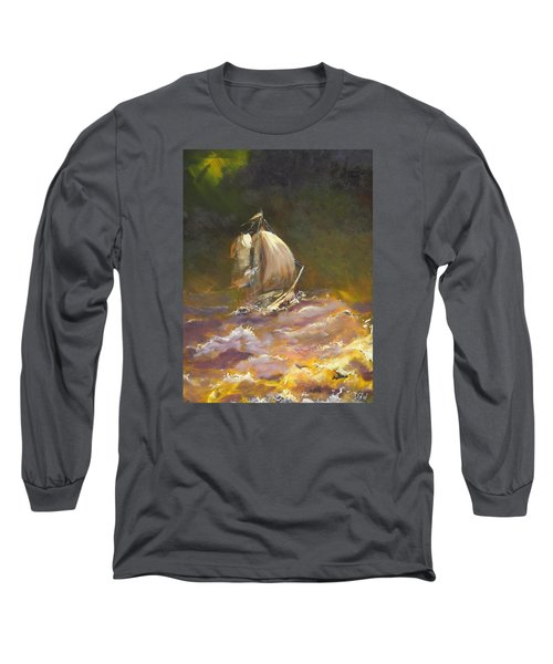 Long Sleeve T-Shirt featuring the painting A Stormy Night At Sea by Dan Whittemore