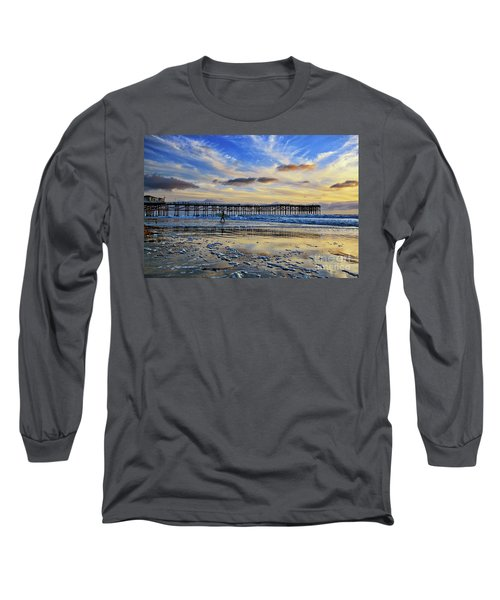 A Surfer Heads Home Under A Cloudy Sunset At Crystal Pier Long Sleeve T-Shirt
