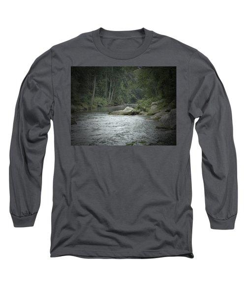 A View Downstream Long Sleeve T-Shirt by Donald C Morgan