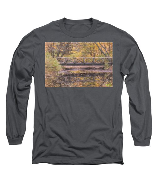 A Walking Bridge Reflection On Peaceful Flowing Water. Long Sleeve T-Shirt