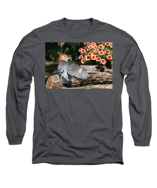 A Woodpecker Conversation Long Sleeve T-Shirt by Sheila Brown