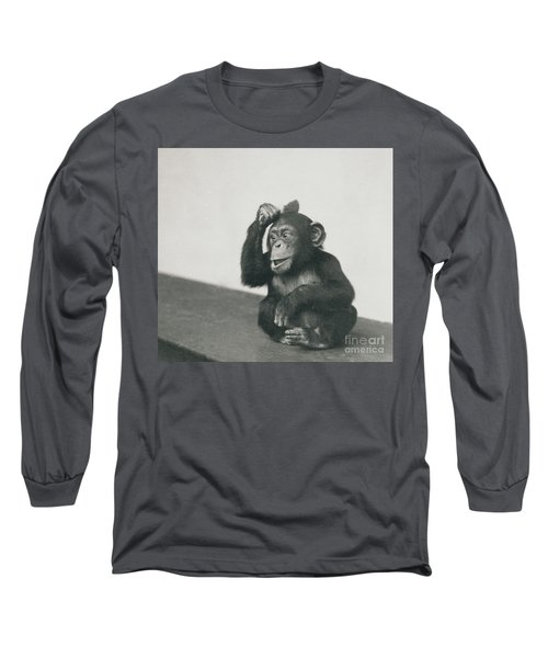 A Young Chimpanzee Playing With A Brush Long Sleeve T-Shirt
