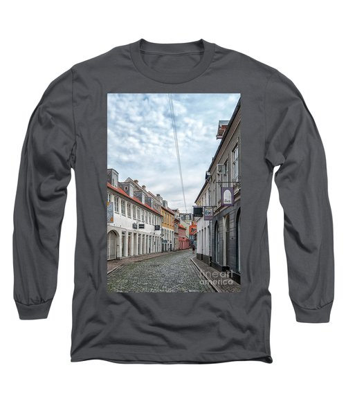 Long Sleeve T-Shirt featuring the photograph Aarhus Backstreet Scene by Antony McAulay