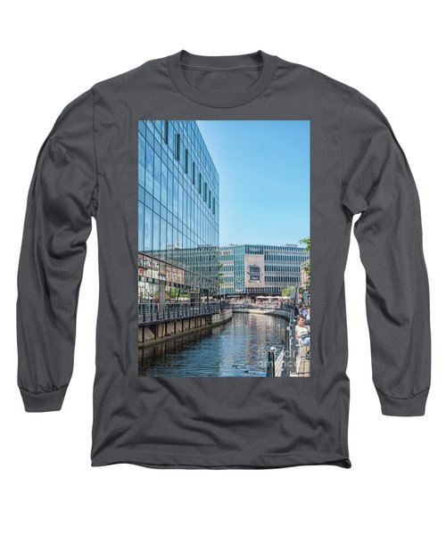 Long Sleeve T-Shirt featuring the photograph Aarhus Lunchtime Canal Scene by Antony McAulay