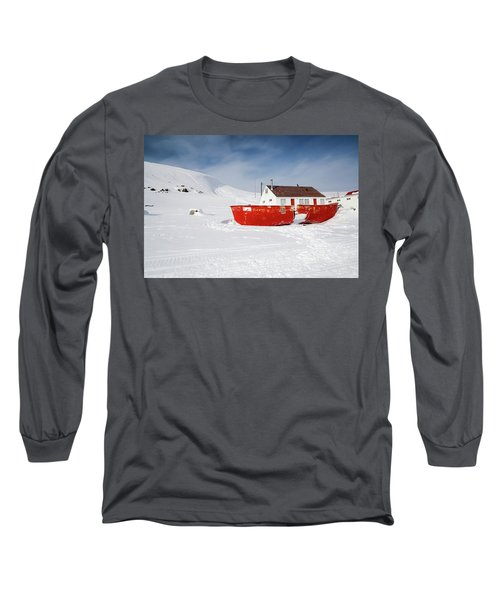 Abandoned Fishing Boat Long Sleeve T-Shirt by Nick Mares