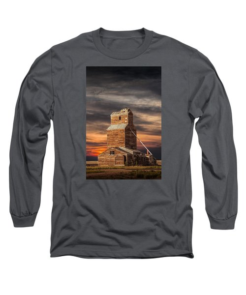 Abandoned Grain Elevator On The Prairie Long Sleeve T-Shirt by Randall Nyhof