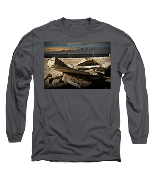 Long Sleeve T-Shirt featuring the photograph Abandoned Ruins On The Eastern Shore Of The Salton Sea by Randall Nyhof