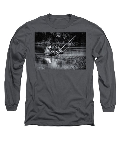 Abandoned Ship In Monochrome Long Sleeve T-Shirt