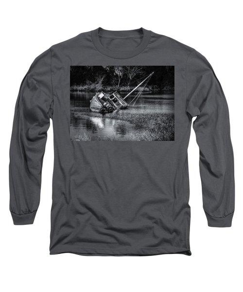 Abandoned Ship In Monochrome Long Sleeve T-Shirt