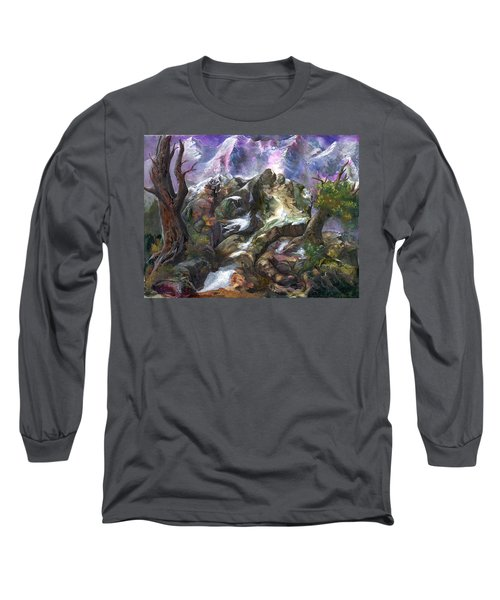 Long Sleeve T-Shirt featuring the painting Above The Timberline by Sherry Shipley