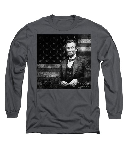 Abraham Lincoln With American Flag  Long Sleeve T-Shirt by Gull G