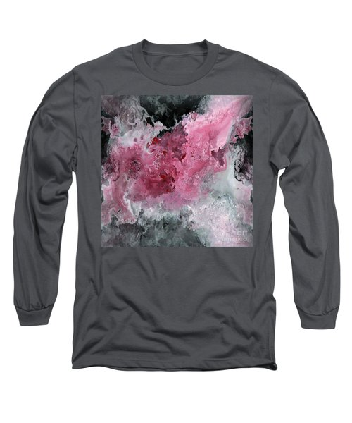 Abstract Acrylic Painting Red Black And White Long Sleeve T-Shirt by Saribelle Rodriguez