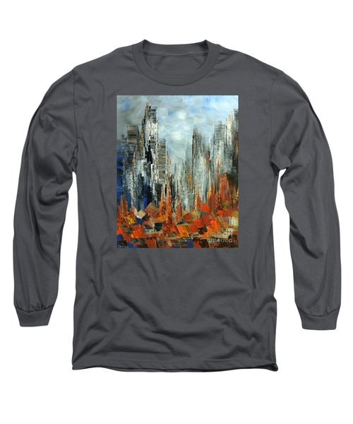 Long Sleeve T-Shirt featuring the painting Abstract Autumn by Tatiana Iliina