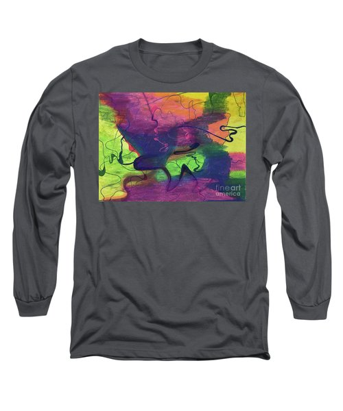 Colorful Abstract Cloud Swirling Lines Long Sleeve T-Shirt