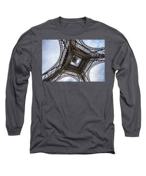 Abstract Eiffel Tower Looking Up 2 Long Sleeve T-Shirt by Mike Reid