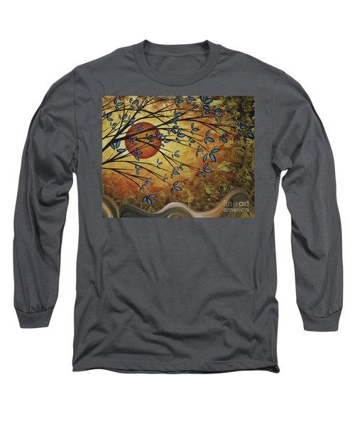 Abstract Golden Landscape Art Original Painting Peaceful Awakening I Diptych Set By Megan Duncanson Long Sleeve T-Shirt