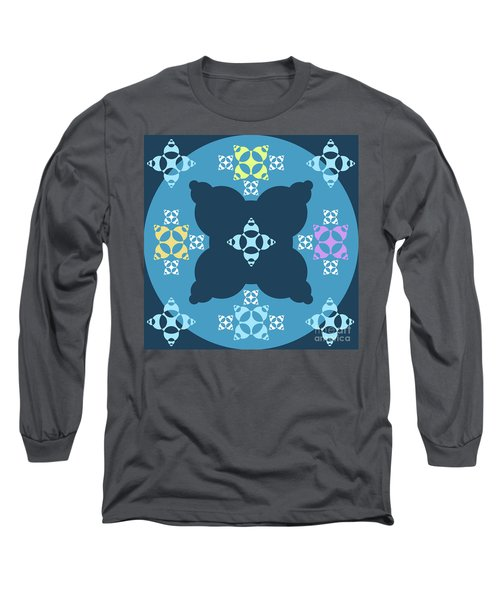 Abstract Mandala Blue, Dark Blue And Cyan Pattern For Home Decoration Long Sleeve T-Shirt