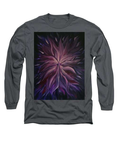 Abstract Purple Flower Long Sleeve T-Shirt