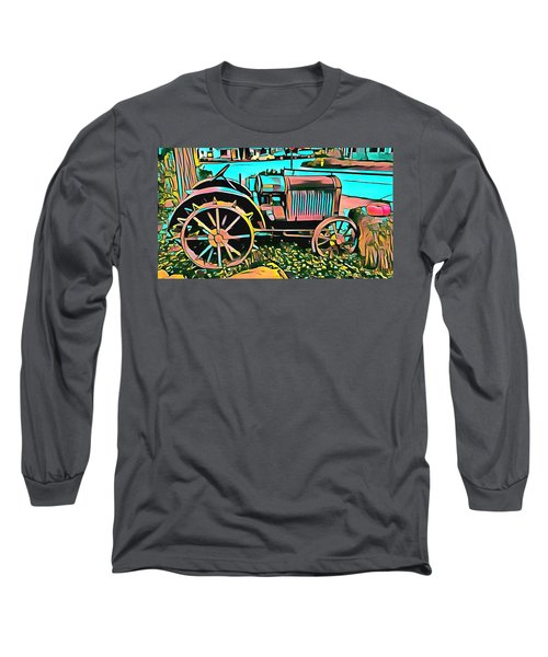 Long Sleeve T-Shirt featuring the digital art Abstract Tractor Los Olivos California by Floyd Snyder