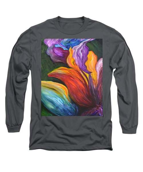 Abstract Vibrant Flowers Long Sleeve T-Shirt