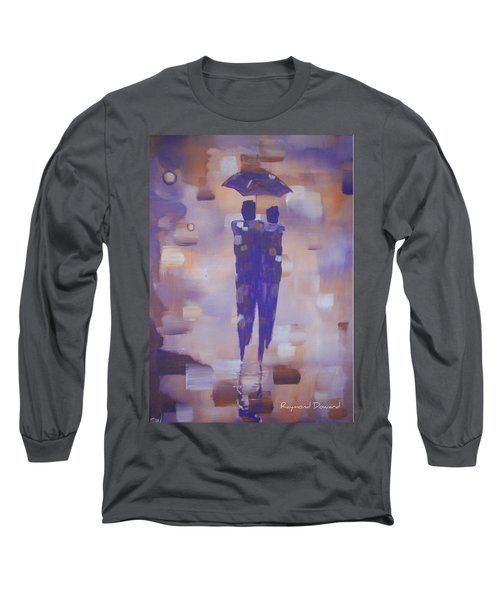 Long Sleeve T-Shirt featuring the painting Abstract Walk In The Rain by Raymond Doward